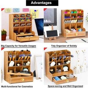 Image 5 - Organisateur multifonctionnel de bureau en bois, support de rangement pour fournitures de bureau et fournitures de bureau maison stylo bricolage boîte de support