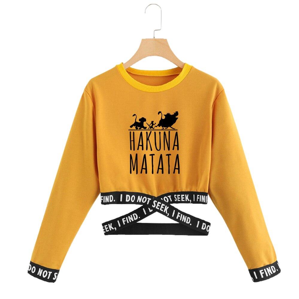 The Lion King Hakuna Matata Female Cropped Navel Round Neck Sweatshirt Women Cotton Sweatshirt Sexy Crop Top Clothes