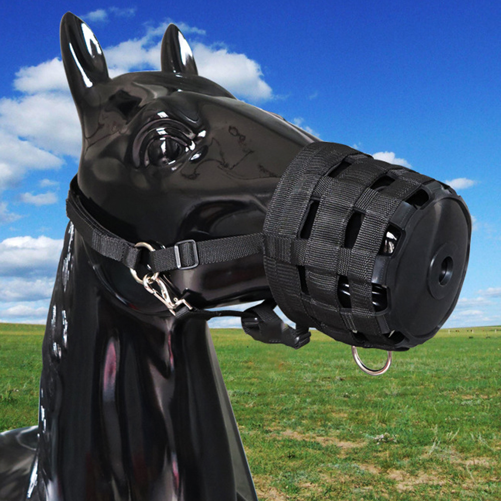 / Lixada Adjustable Horse Mouth Cover Horse Equipment Breathable Pony Nylon Grazing Muzzle With Halter Under Chin Head Collar