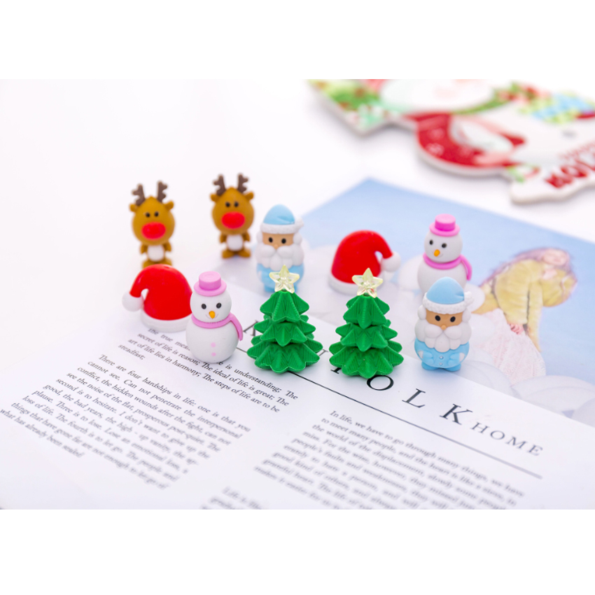 6pcs/set Three-dimensional Christmas Fruit And Animal Rubber Set Soft Eraser Drawing Plasticine Stationery