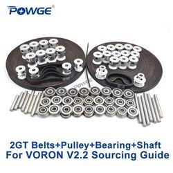 POWGE VORON V2.2 Set MOTION ONDERDELEN GT2 LL-2GT RF Open Distributieriem 2GT 16T 20T katrol 110/188 loop riem Shaft Bearing 625 F695 2RS