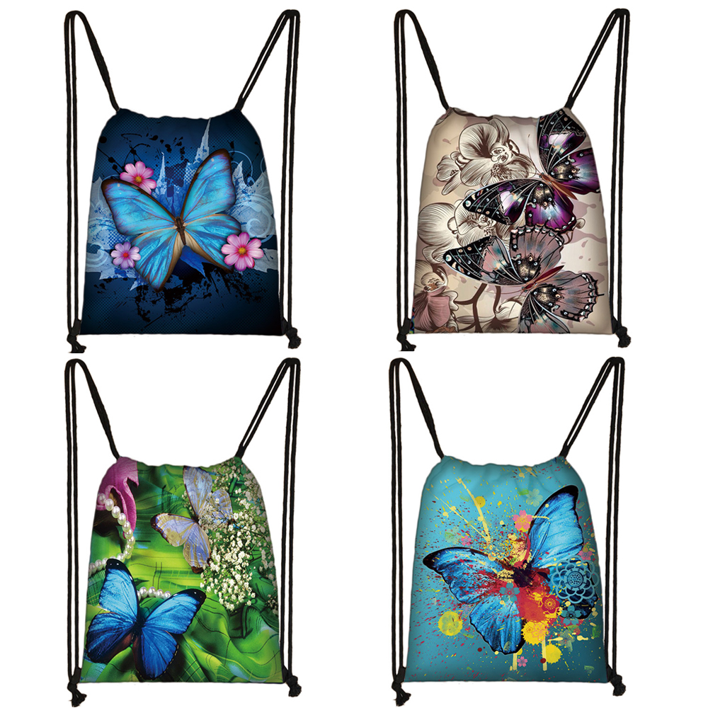 Beautiful Butterfly Print Drawstring Bag Women Fashion Storage Bags Casual Softback Backpack Teenager Girls Travel Bag Bookbag