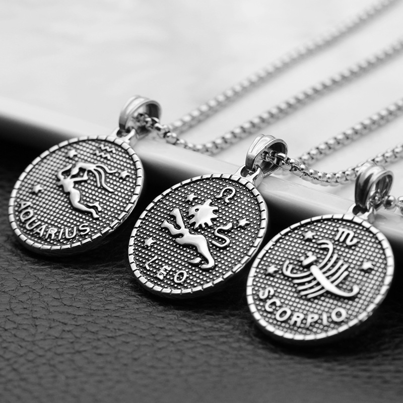 Twelve Horoscope Coin Women Stainless Steel Pendant Necklace Leo Virgo Libra Scorpio Sagittarius Capricorn 12 Constellation Gift(China)