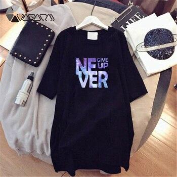 Women Dresses NEVER Series Letter Plus Size Black Mini Dress Loose Summer Long T Shirt Casual Clothes Femme Tops White Sukienka 107