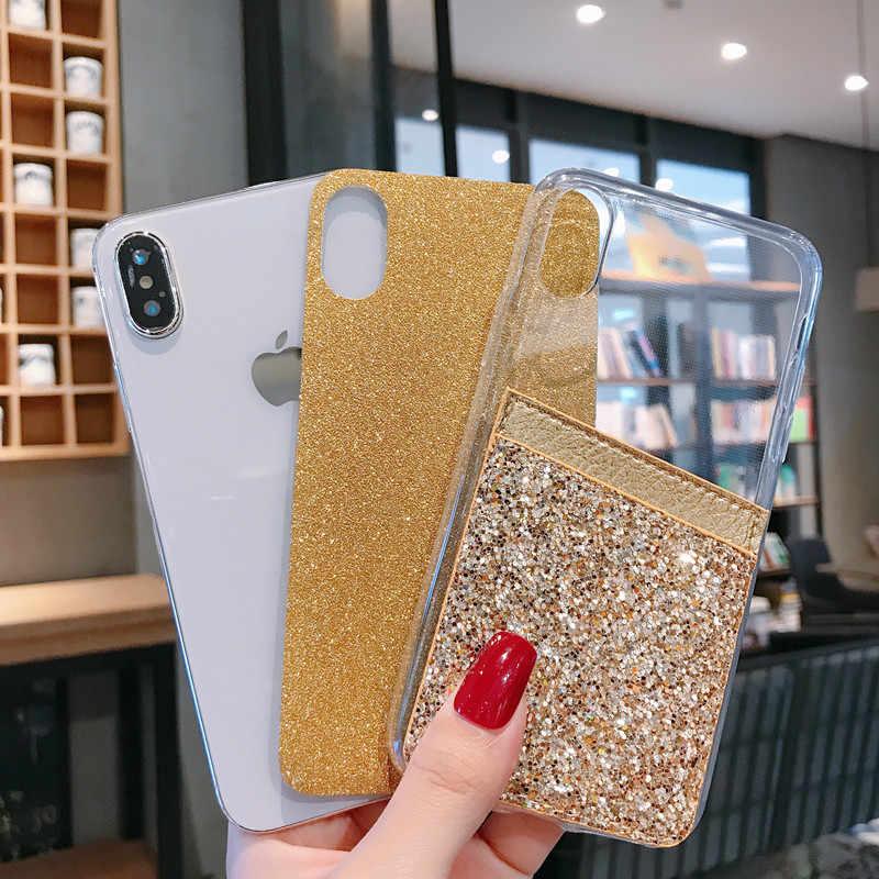 Moda Bling Glitter telefon iphone için kılıf 6 6S 7 8 artı 11 Pro Max kart yuvası konut 5 5S XR XS Max silikon arka kapak
