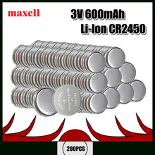 200PCS Original FOR Maxell CR2450 CR 2450 3V Lithium Button Cell Battery Coin Batteries For Watches,clocks,hearing aids(China)