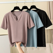 GIGOGOU Elegant V Neck Women T -shirt 2020 Summer Short Slee