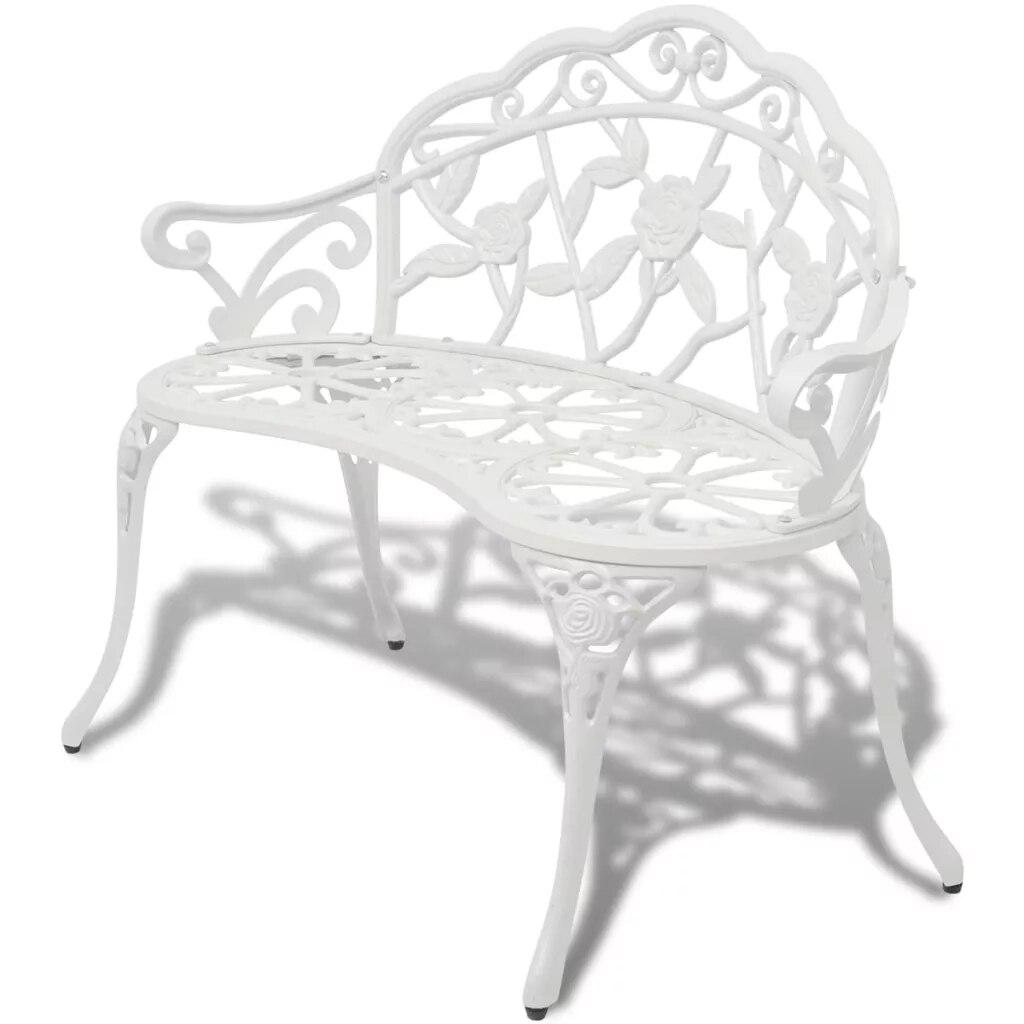 Banc de jardin en Aluminium coulé Blanc, 100 cm, chaises de plage, Patio