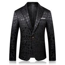 PYJTRL Trend męskiej jakości mody dorywczo żakardowe marynarki Blazer mężczyzn Veste kostium Homme
