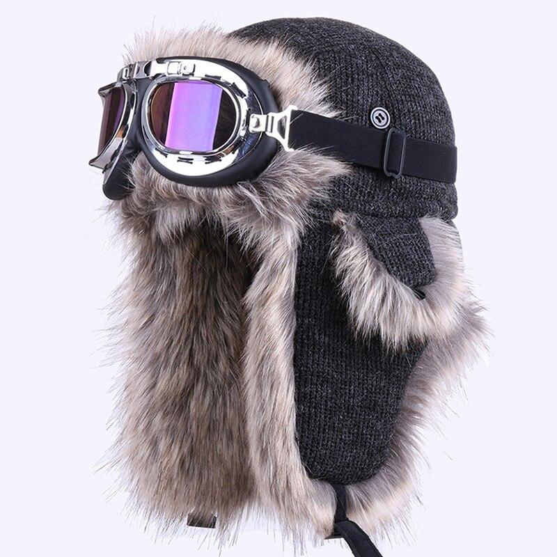 Bomber Hat With Ski Goggles Winter Russian Ushanka Warm Trapper Hat EarFlaps Wool Aviator Trooper Cossack Faux Fox Fur Snow Caps