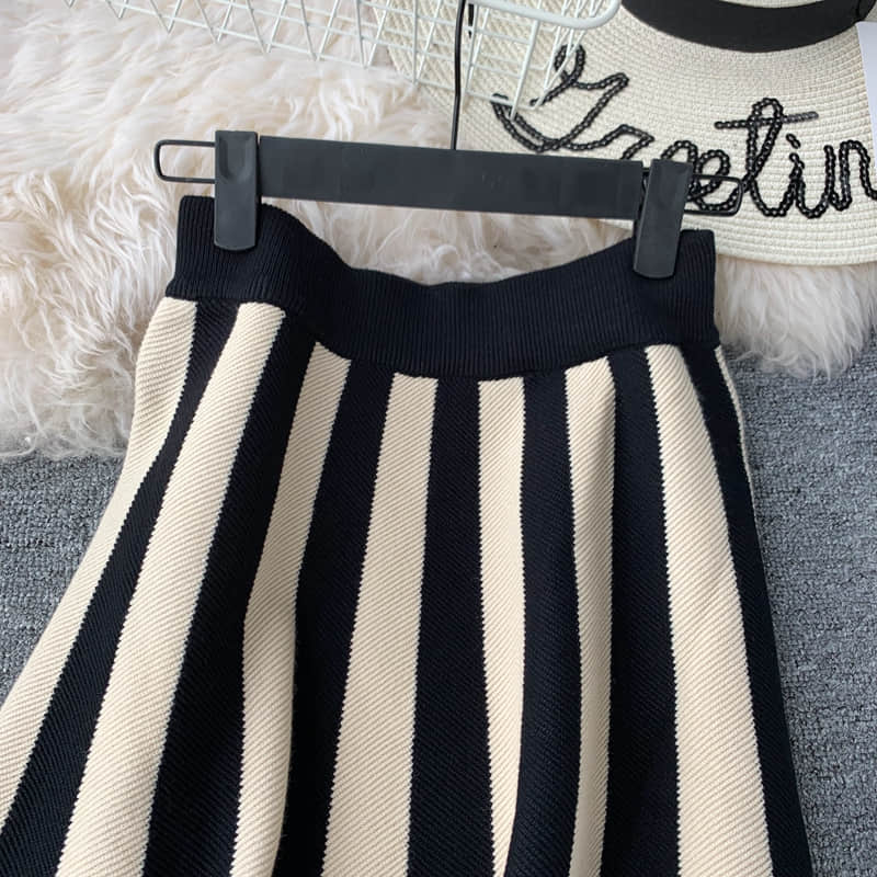 autumn new knitted women skirts 2019 fashion design striped A-line high waist wave patern knee-length office lady elegant skirts