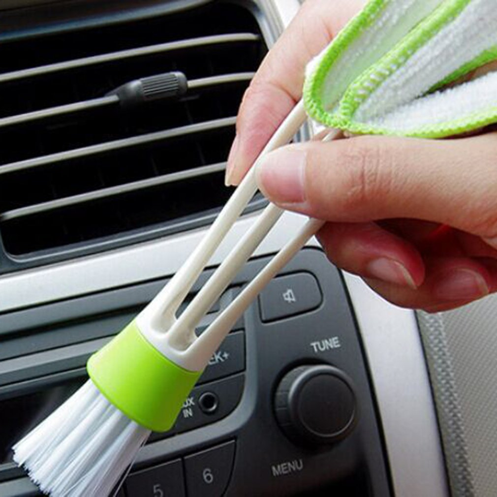 Car Care Cleaning Brush Auto Cleaning Accessories For BMW All Series Double-Headed Instrument Dusting Brush Keyboard Brushgreen