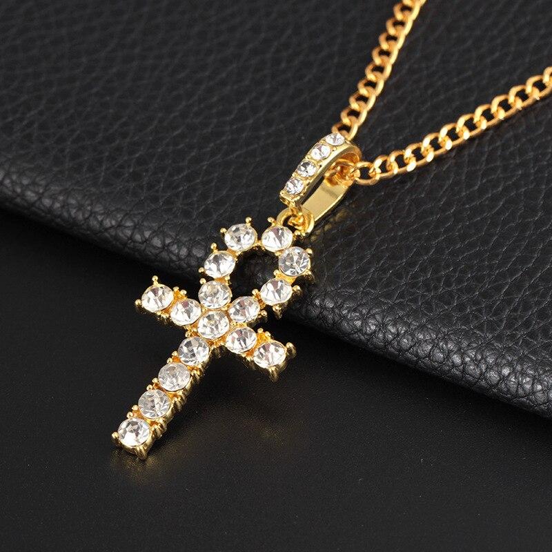 Creativo de moda con incrustaciones de diamantes de imitación Cruz collar estilo hip-hop estudiante par salvaje colgante accesorios de los hombres y las mujeres
