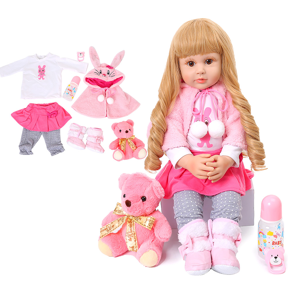 Silicone Reborn Toddler Baby Doll Toys 60CM Princess Girl Like Alive Bebe Girls Brinquedos Cloth Body Reborn Baby Birthday Gift