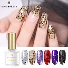 Гель-лак для ногтей BORN PRETTY с блестящими блестками, 6 мл, глазирующий УФ-гель розового, золотого, серебряного цвета, сияющий, впитывающий УФ-Гель-лак для ногтей