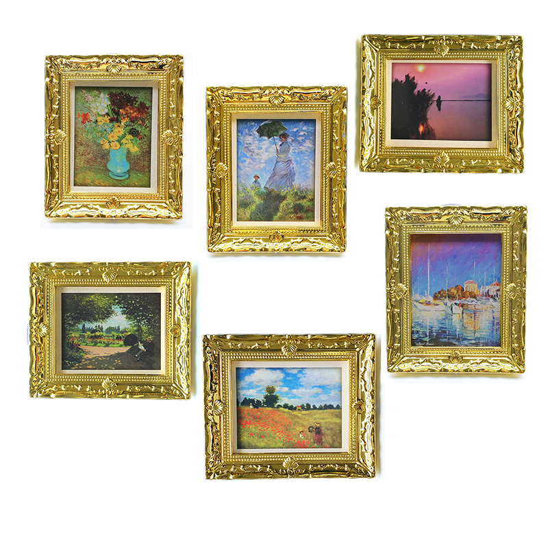 Miniature Dollhouse Wall Pictures For Living Room FIgure Golden Framed DIY OM041