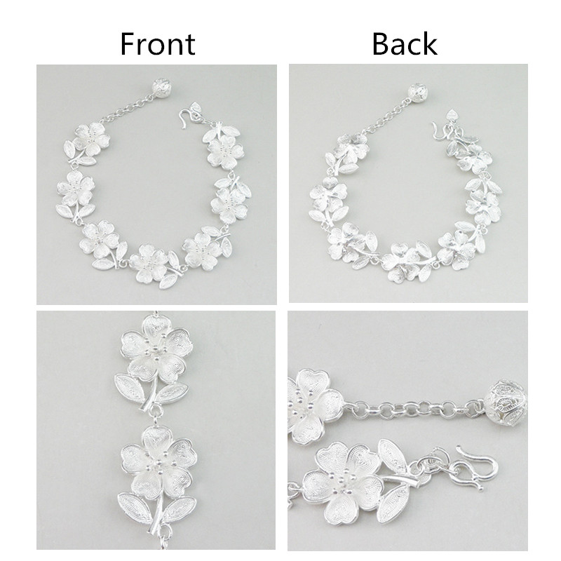 999 Sterling Silver Bracelet Hand Chain Charms Chinese Handmade Jewelry Ethnic Vintage Flowers Silver Luxury Women Bangles in Chain Link Bracelets from Jewelry Accessories