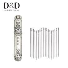 Agujas de costura de acero inoxidable para 20 piezas, agujas de bordado de punto de mano para el hogar y estuche de agujas Vintage, herramientas de costura DIY