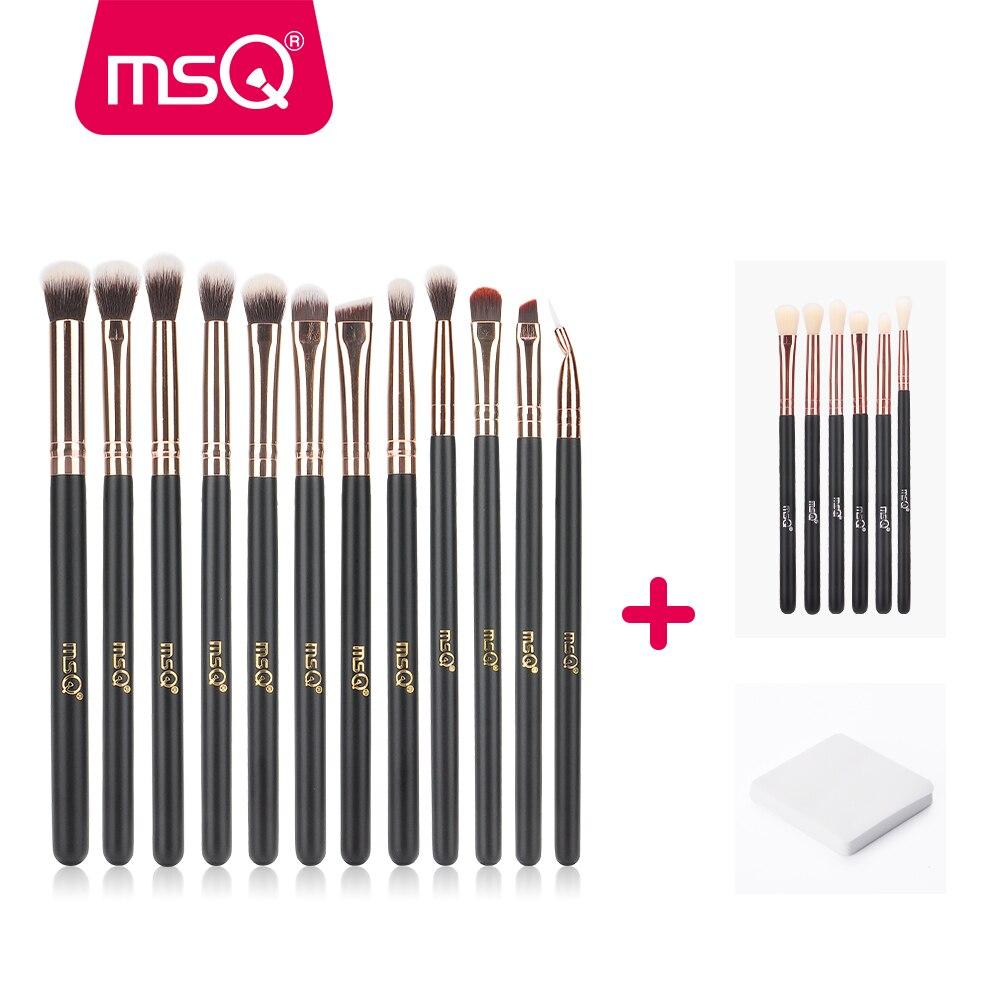 Msq 6 pces/12 pces/18 pces pincéis de maquiagem para os olhos profissionais conjunto sombra mistura compõem pincel cabelo sintético macio pincel maquiagem