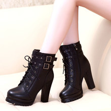 Women Autumn Winter Lace Up Ankle Military Buckle Chunky High Heel Platform Knight Martin Boots Motorcycle Cowboy Booties glamorous grey velvet platform chunky heel booties women fancy ribbon lace up decoration block heel ankle boots with inside zip