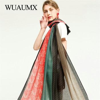 Wuaumx Spring Autumn Scarf For Women Ladies Scarves With Tassel Floral Print Shawl Wrap Thin Muffler Large Size Scarf Female недорого