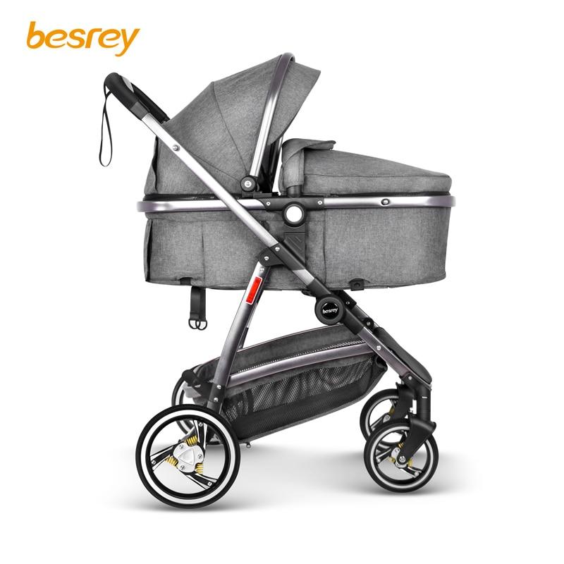 Besrey Baby Stroller 2 in 1 luxury for Newborn Baby Folding Stroller Toddler Carriage Infant Buggy High Landscape Pram Pushchair