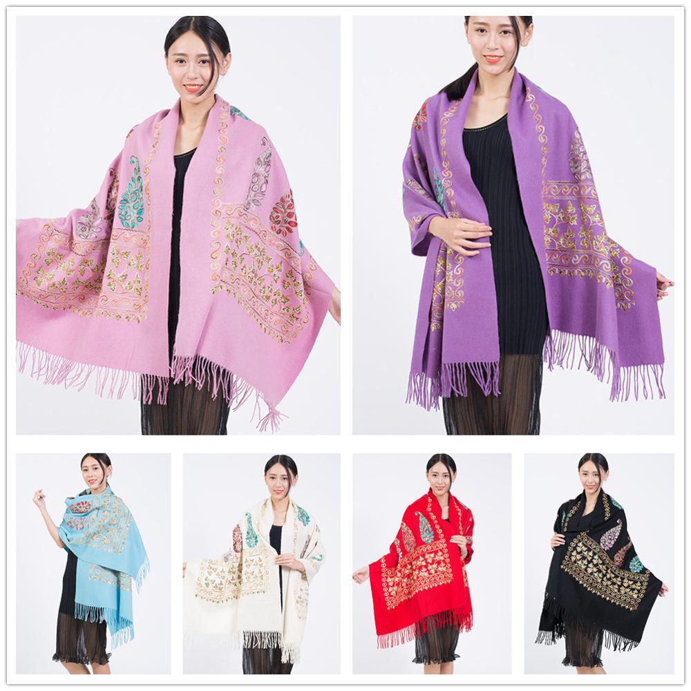 Women's Scarf Imitation Wool Embroidery 200 * 70cm Leaf Scarf Flower Scarf Ethnic Wind Embroidered Scarf Shawl