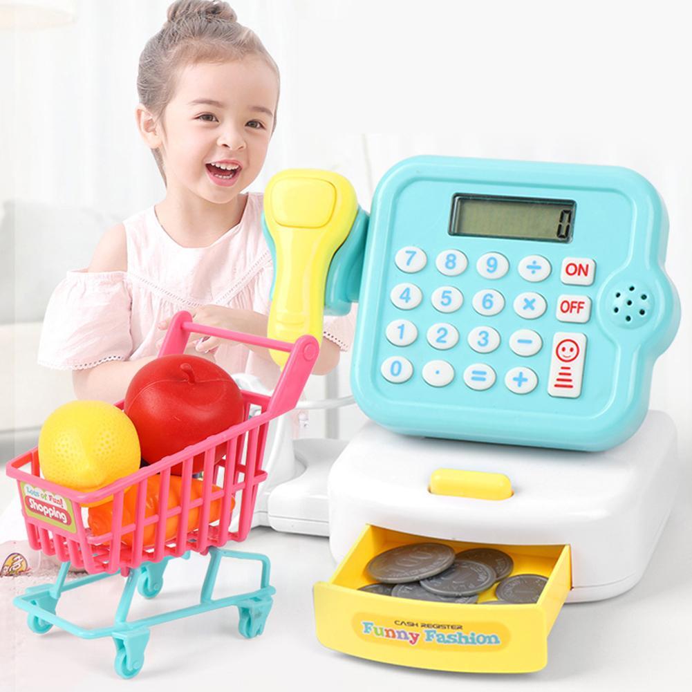 Моделирование мини Музыка Свет рынок кассовый аппарат Модель Дети ролевые игры игрушки электронные игрушки для детей Подарки