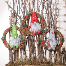 Hot Christmas Ornaments Artificial Rattan Hanging Garlands Wreath Pendants Plush Gnome Doll Seasonal Decorations