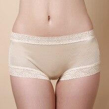 Boxer Panties Underwear Mulberry Silk Lace-Band Women Mid-Waist Soft Birdsky HC-18 Thin