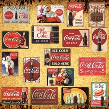 [Luckyaboy] Retro Ice Cold Drinks Decoration Coke Cola Metal Tin Signs Poster Vintage Plaque Pub Bar Club Cafe Shop Decor  AL007