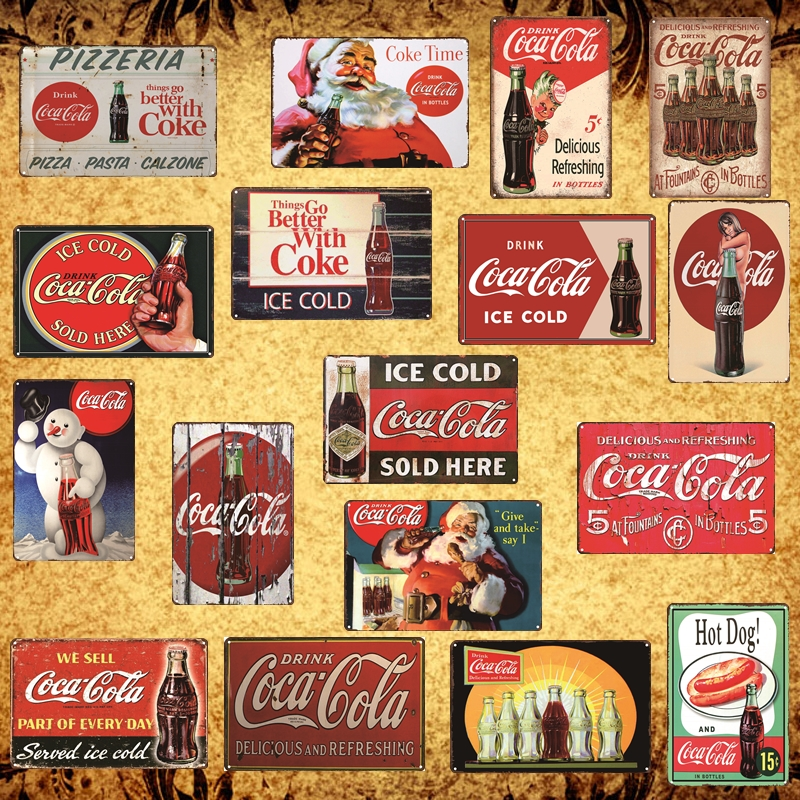 """TIN SIGN /""""Coca Cola Lucky/"""" beverages Signs Garage Wall Decor"""