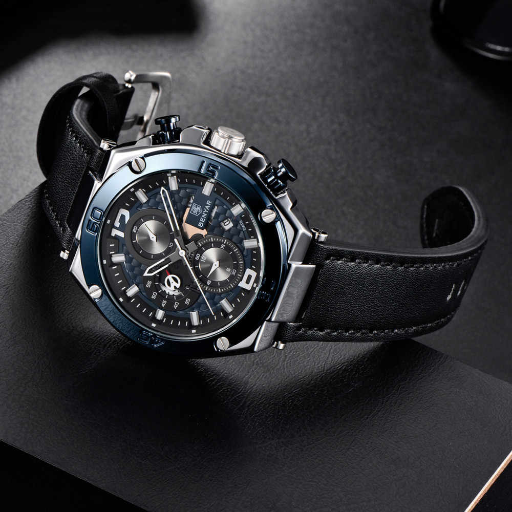 Reloj Hombre 2019 BENYAR קוורץ צבאי הכרונוגרף גברים שעונים למעלה מותג יוקרה עור עמיד למים שעון Relogio Masculino + תיבה