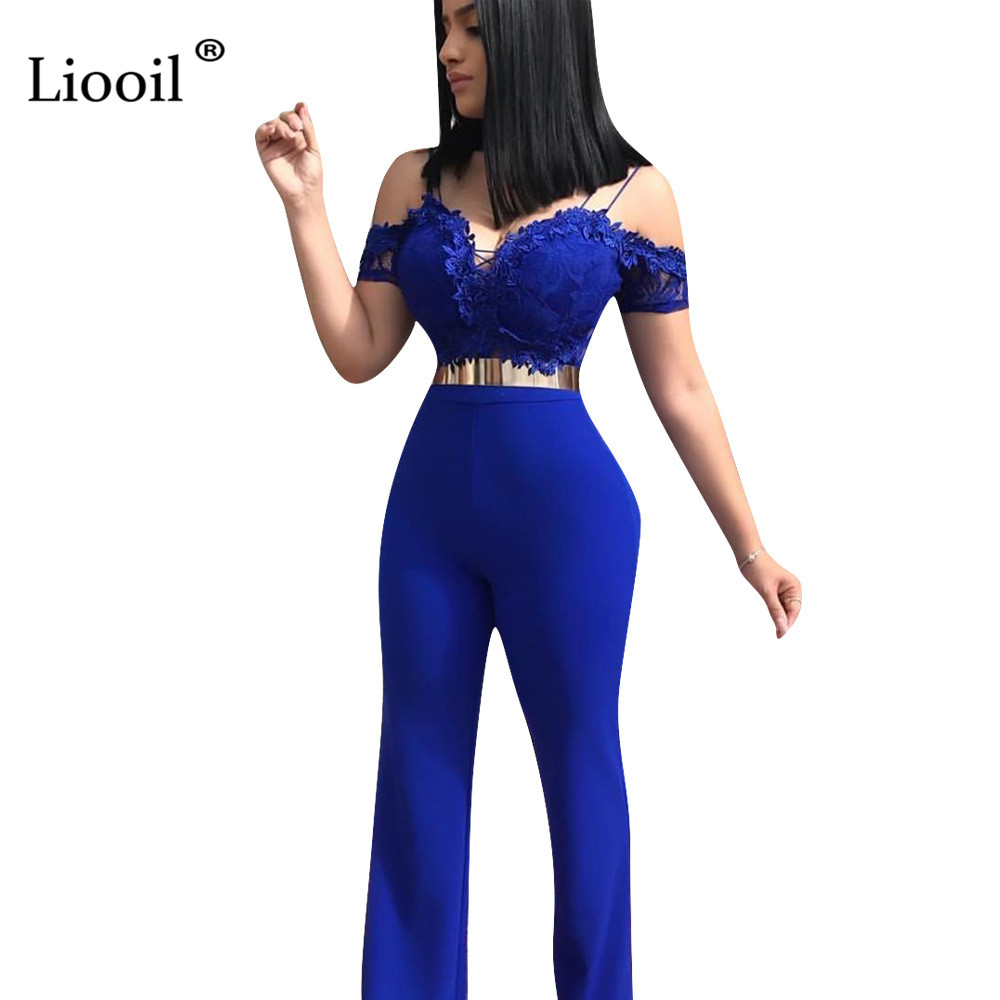Liooil Off Shoulder Sheer Lace Tight Jumpsuits Sexy One Piece Outfits 2019 V Neck High Waist Party Club Rompers Womens Jumpsuit