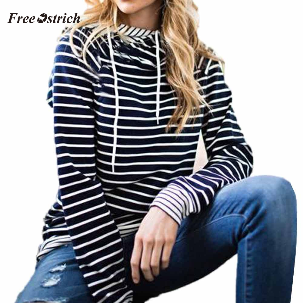 Free Ostrich Women Casual striped Hooded spring autumn Long Sleeve Hoodie Sweatshirt Jumper Hooded Pullover Tops Blouse 91023