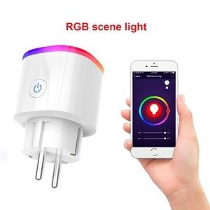 "Image 3 - חכם האיחוד האירופי Plug Wifi הבית החכם Tuya חכם חיים אפליקציה LED אור מתג בקרת שקעים עבור ארה""ב Alexa Google בית מיני IFTTT"