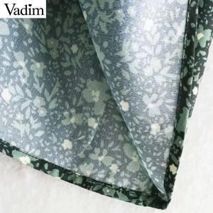 Image 5 - Vadim women chic floral pattern mini dress straight bow tie long sleeve female retro cute basic causal dresses QD075