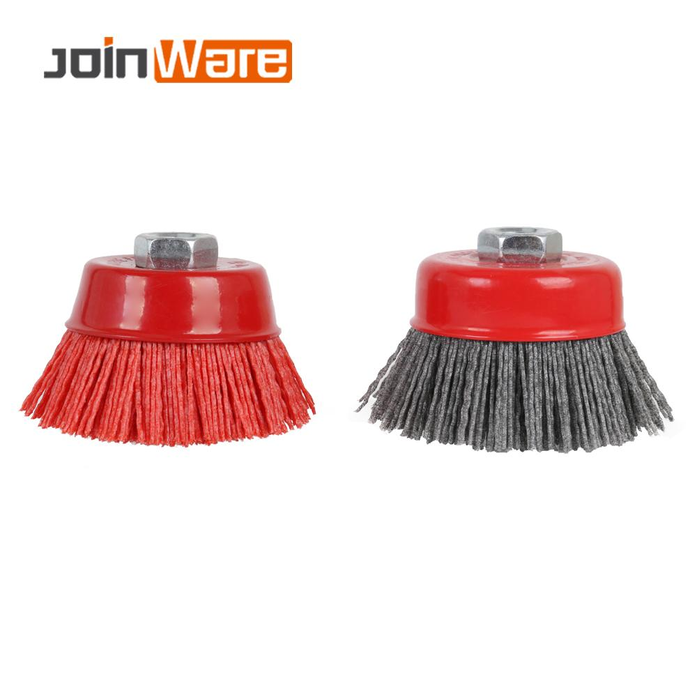 100mm Cup Nylon Abrasive Brush Wheel M14 X 3inch P80 Pile Polymer-abrasive For Angle Grinder Tool 80/120# 1/2Pcs