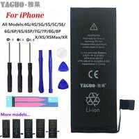 100% batería de teléfono Original para Apple iPhone 4 4S 5 5S 5C SE 6 6S 7 8 Plus X XS MAX XR capacidad Real 0 Kit de herramientas sin ciclo