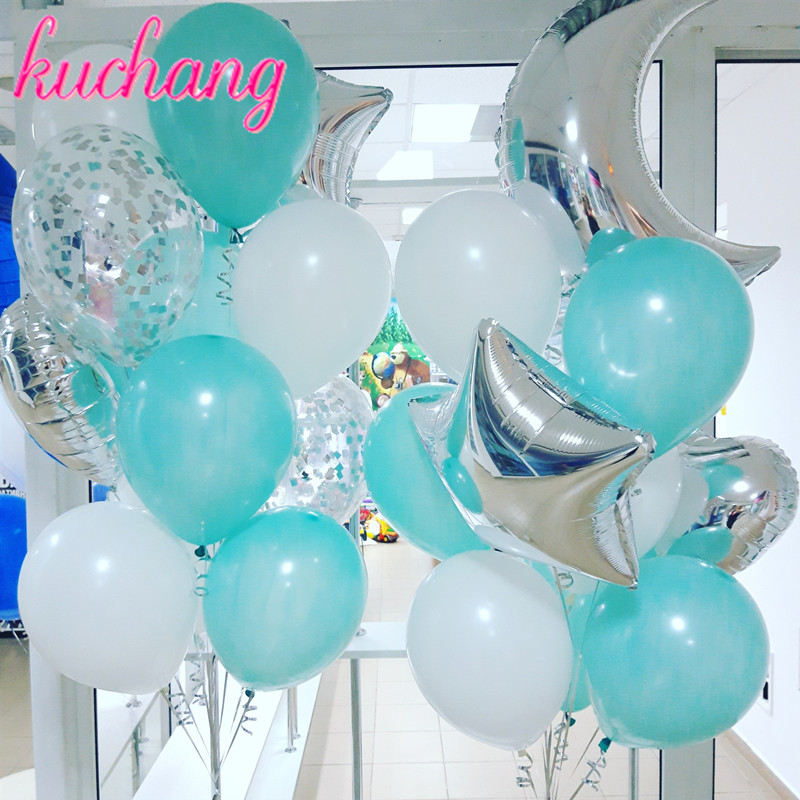 Blue Party Decorations,Party Supplies Kit,Bachelorette Party Decorations,Graduation Party,Wedding Party,Christmas Party,Foil Balloons,Blue Latex Balloons,Silver Confetti Balloons,Blue Hanging Swirls