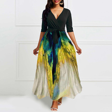 African Dress V neck Vintage Printed Retro Women Summer half Sleeve Plus Size Long maxi Dress High waits Evening Party Dresses women ruffle layered v neck dresses casual high waist flare sleeve a line dress 2019 summer fashion vintage printed dresses