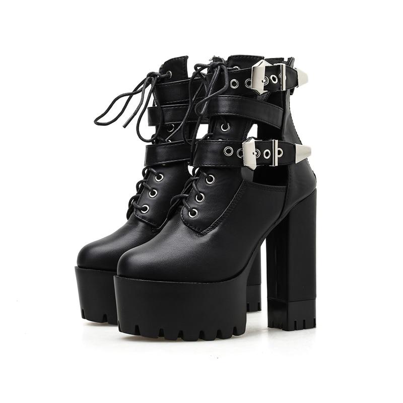 Punk Shoes Womens Lace Up Platform Belt Buckles Wedge High Heels Motor Shoes A36