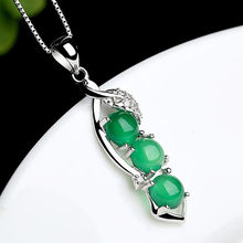 Green Jade emerald pendant necklace for women Sterling silver with 18k white gold plated gemstone crystal elegant jewelry gifts(China)