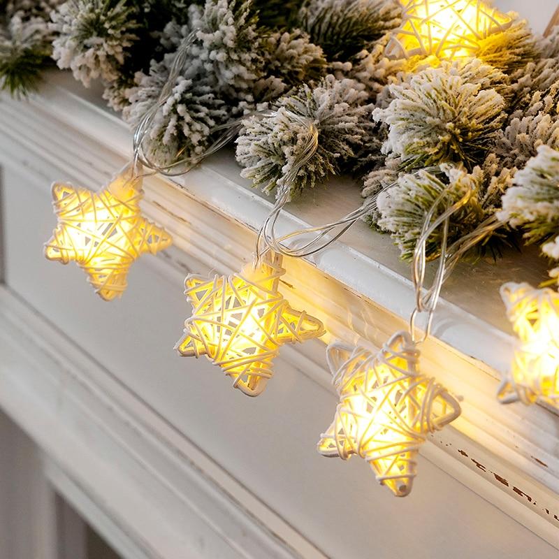 Led Fairy Rattan Twine Stars Lantern Battery USB String Lights 6M LED Decoration For Christmas Garland New Year Gerlyanda 2020