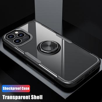 Obudowa antywstrząsowa do iPhone 11 12 Pro Xs Max XR X 8 7 6 6s Plus przezroczysta obudowa magnetyczna do Apple iPhone 11 12 Pro Max mini tanie i dobre opinie JohnDan CN (pochodzenie) Częściowo przysłonięte etui Magnet Ring Transparent Cases Urządzenia iPhone Apple Do telefonu iPhone 6