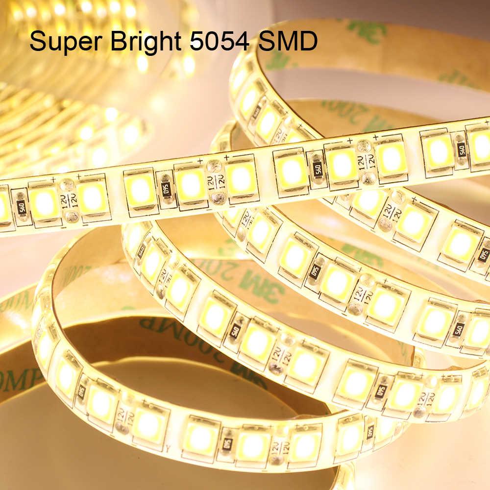 Tira de luces LED de 5M, 5054 SMD, 120LED, 60LED, 240LED, 5050 2835 12V CC, cinta LED Flexible impermeable para decoración del hogar, 10 colores