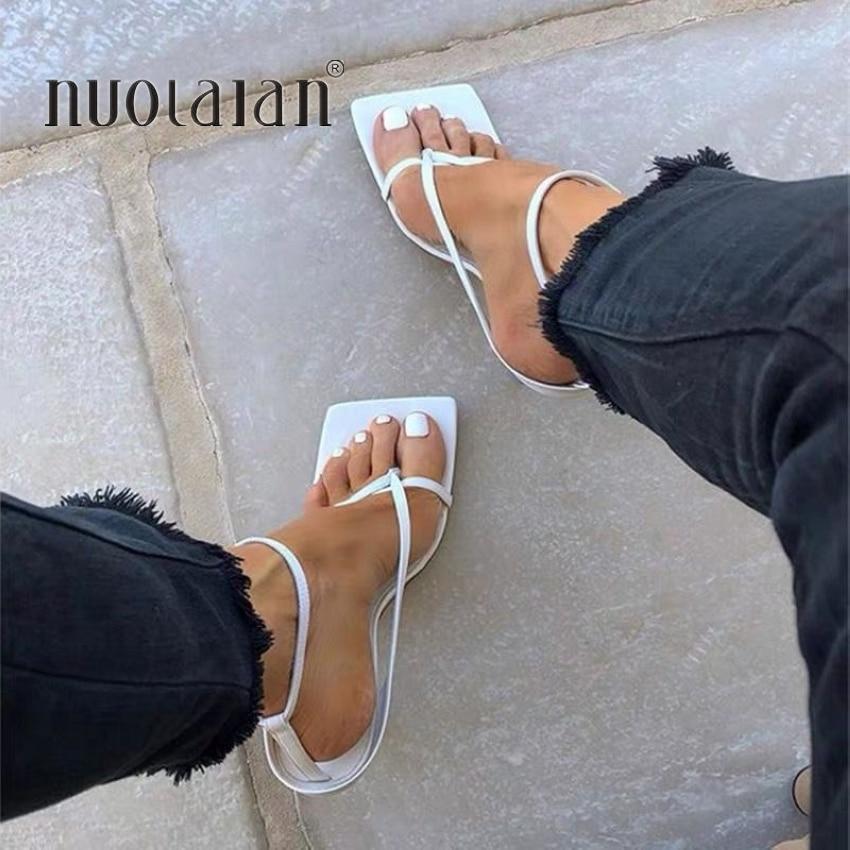 Summer Women Sandals Narrow Band Vintage Square Toe High Heels Buckle Strap High Heel Sandals Women V-neck Designer Shoes Women