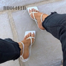 Summer Women Sandals Narrow Band Vintage Square Toe High Hee