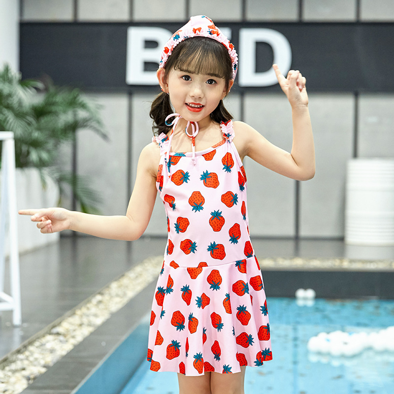 Children Dress-Swimsuit GIRL'S Cute Princess Baby Strawberry Printed Conservative Small Children Hooded Swimwear