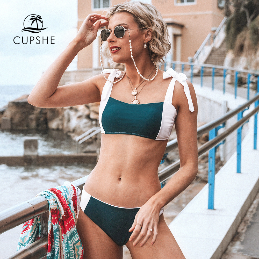 CUPSHE Colorblocked Bandeau Low-Rise Bikini Sets Sexy Bow-knot Swimsuit Two Pieces Swimwear Women 2019 Beach Bathing Suits